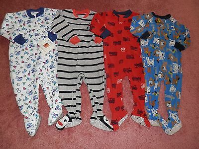 Lot Baby Boy Fleece Footed Blanket Sleepers Size 18 Months Carters