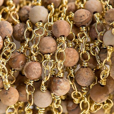 3ft PICTURE JASPER GEMSTONE Rosary Chain, bright gold, 4mm round fch0713a