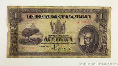 Scarce 1934 Reserve Bank of New Zealand One Pound Note Pick 155