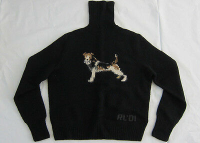 Vintage Polo Ralph Lauren dog hand knit lambswool turtleneck sweater - Authentic