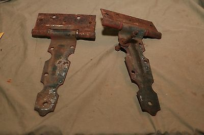 2 Antique Primitive early 20th C Painted Door Hinges Iron Metal 1 Bolt