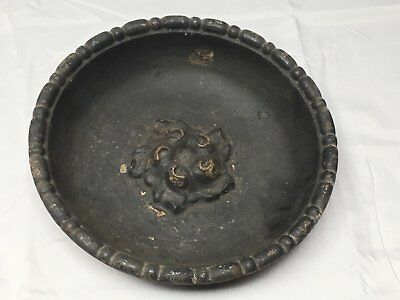 Antique Cast Iron Bowl Dish Planter Decorative Tray Urb Pot Old Vintage 547-17E