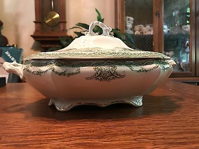 marborough Waterloo Potteries Royal Premium T R Bootie England Soup Tureen Green