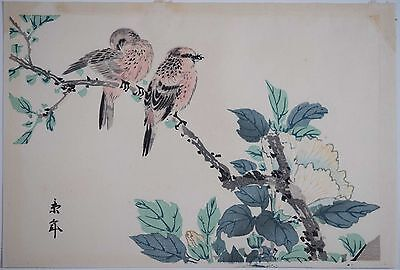"Imao Keinen Japanese Woodblock ""Robins and Peony"", Good Color & Condition!"