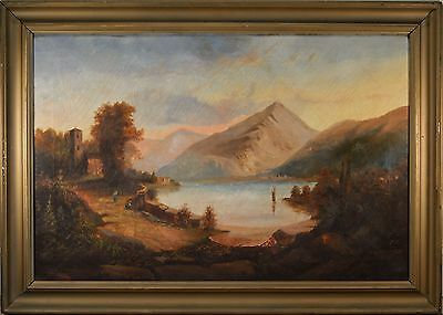 BEAUTIFUL Antique Oil Painting Castle Mt. Landscape W/ Small Study Painting FINE