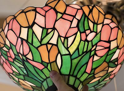 Beautiful Vintage Floral Stained Glass for Torchiere or Floor Lamp EXC CONDITION