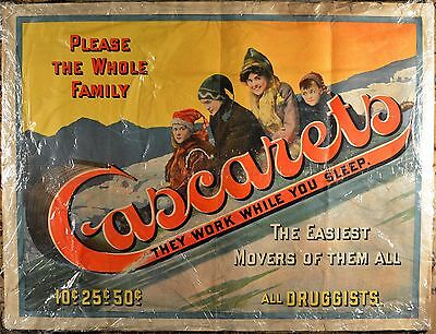 RARE Cascarets Paper Advertising Lithograph Sign Cathartic Candy, GREAT COLORS!!