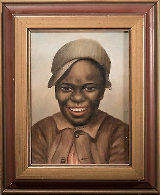 Outstanding Antique African American Portrait 19th Century Oil on Canvas, RARE!