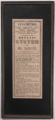 Antique Medical Quackery Framed Poster Advertisement, 1800's Botanic System RARE