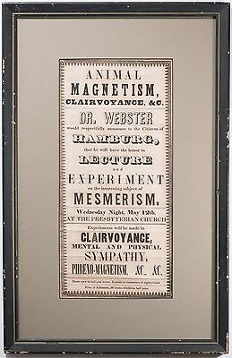 Antique Animal Magnetism Advertisement Flyer, 1845 Excellent Condition & RARE!