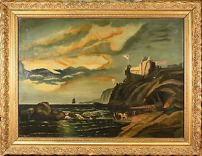 OUTSTANDING Antique Large Oil Painting on Canvas, Seascape, Rocky Coast & Castle