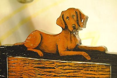 Original Painting~Vizsla~Dog~Hand Made~Hook~Key~Leash Holder~Whimsical~Wall Art
