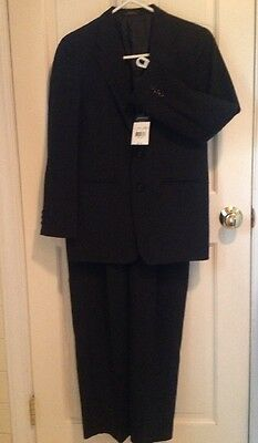 NEW Arrow Boy's Suit Black Gray Pinstripes Jacket & Pants Year Round Sz 16 $85