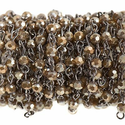 3ft MUSHROOM BROWN Crystal Rosary Bead Chain, gunmetal 4mm round glass fch0689a