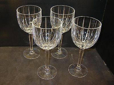 """SET of 4 WATERFORD LEAD CRYSTAL MARQUIS """"OMEGA"""" WINE/WATER GOBLETS"""