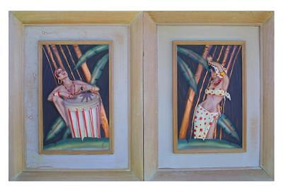 Mid Century Modern  Hawaiian Airbrush on Copper Paintings C E Pearson Repousse