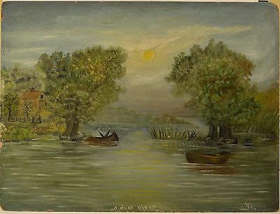"""Antique American Oil Painting """"A June Night"""" Dated 1896, River w/ 2 Boats & Home"""