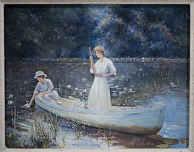 Beautiful Oil Painting, Two Women Picking Lily Flowers on Lake, J Hamilton, NICE