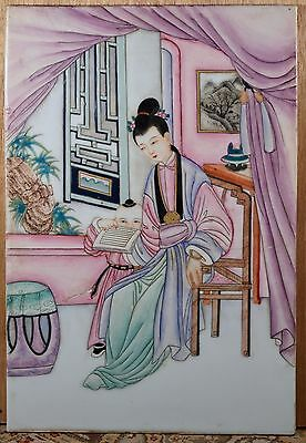 Old Antique Asian Painting on Porcelain Tile, Woman and Child, Framed, NICE!