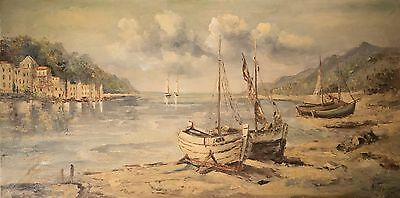 """Large European Oil Painting on Canvas by """"Ruffo"""" Harbor w/ Boats, BEAUTIFUL!"""