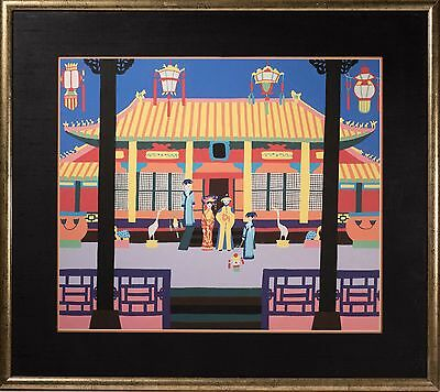 Fine Japanese Painting of Temple w/ People, Phenomenal Colors & Composition!