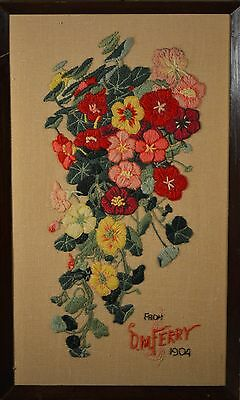 Antique Needle Work Floral Art Dated 1904, 112 Years old! NICE & BEAUTIFUL!