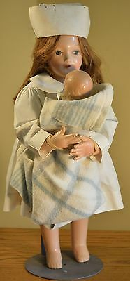 Beautiful Early Composition Doll, Nurse with Infant, Great Condition, Unmarked!