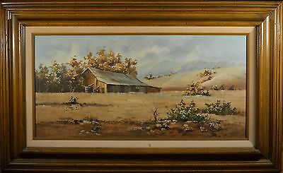 Original Barn & Mountain Landscape Oil Painting, Beautiful Condition & Signed!