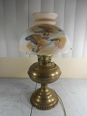 Antique Brass Bradley & Hubbard Electric Oil Table Lamp w/ Gorgeous Goose Shade