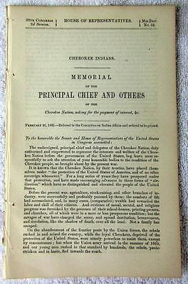 1865 CIVIL WAR Cherokee Nation Seeking Protection Against Rebels & Interest Due