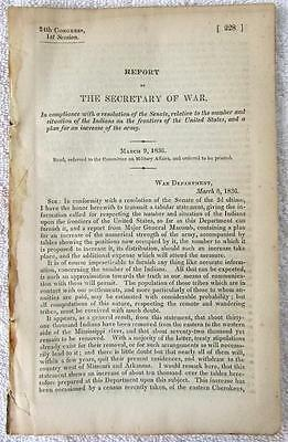 1836 INDIANS CENSUS & Army Plan for Soldiers Increase for Frontier Defense