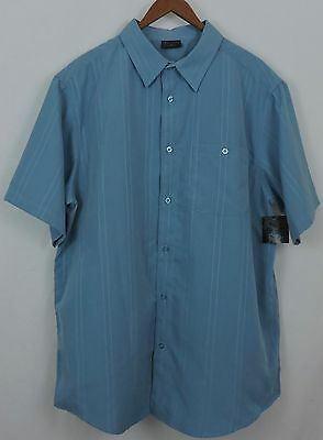 NWT R&R Casual Men's Blue 100% Polyester Short Sleeve Shirt Size XL