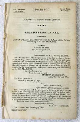 1835 INDIAN TRADERS Abstracts of Licenses Issued to Authorized Indian Traders