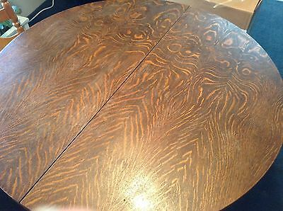 """ANTIQUE 42"""" ROUND OAK TABLE with 4 chairs that are not antiques"""