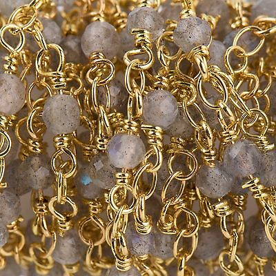 3ft LABRADORITE GEMSTONE Rosary Chain, bright gold 4mm round bead chain fch0719a