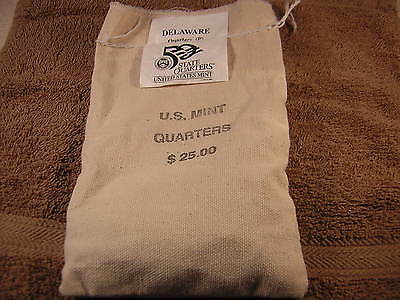 1999-P $25 Delaware State Quarter Original Mint Sewn Bag 100 Uncirculated Coins