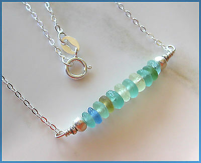 *PI*ANCIENT 2000 YEAR OLD ROMAN GLASS Hill Tribe SILVER .925 Necklace! handmade