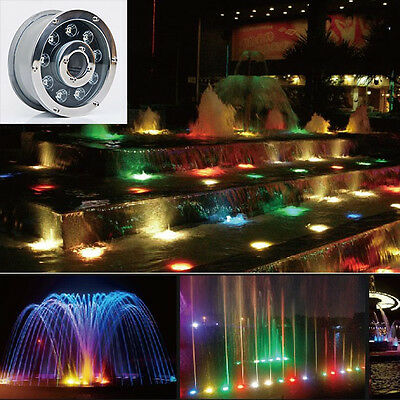 RGB Auto Change LED Swimming Fountain Pool Stainless Steel IP68 Underwater Light
