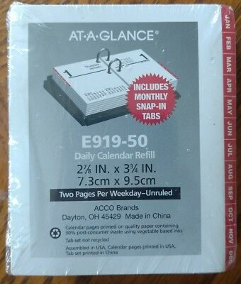 """AT-A-GLANCE Daily Desk Calendar Refill 2017, Compact, 2-7/8 x 3-3/4"""", Monthly"""