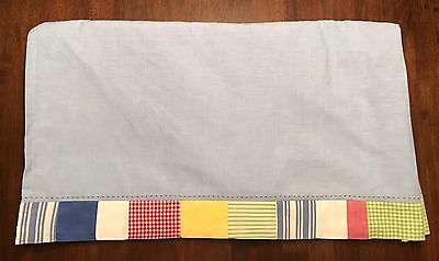 POTTERY BARN KIDS *Red, Green, Yellow & Blue Gingham Checked* CRIB SKIRT