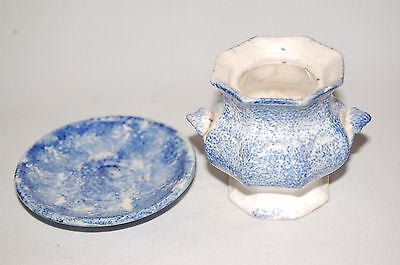 Blue Spatterware Small Saucer And Sugar Bowl