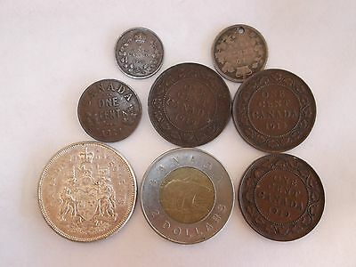 8 assorted Canadian coins