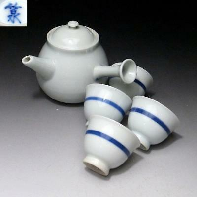 GL7: Japanese Tea Pot & Cups, Kyo ware by Great Master, the 5th Chikusen Miura