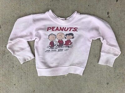 VTG 50s 60s Peanuts Snoopy Charlie Brown Sweatshirt Kids Youth Size 6 8