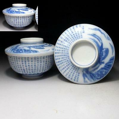 KF7: Antique Japanese Covered Bowls of Old Imari ware, 19C, Chinese classic poem