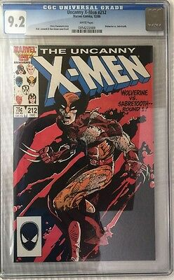 X-men #212 CGC 9.2 Wolverine Vs Sabertooth Mutant Massacre