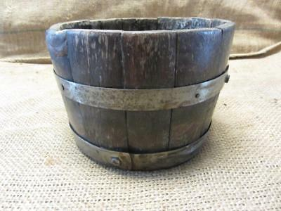 Vintage Wood & Iron Barrel > Bucket Basket Garden Decor Antique Old Shabby 9399
