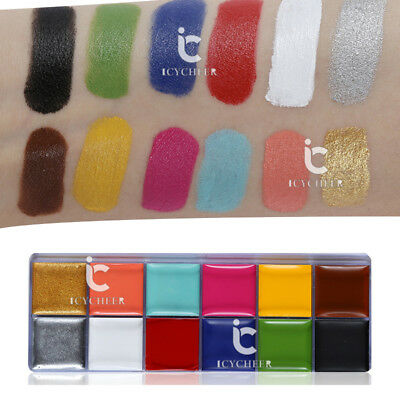 12 Colors Flash Tattoo Face Body Paint Oil Painting Art Halloween Party Makeup