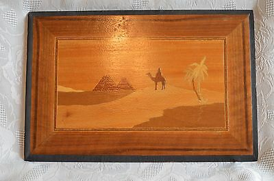 """Vintage Wood Marquetry wall plaque Egypt Oasis Pyramids Camel Palms 14""""x10"""""""