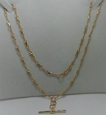 9ct YELLOW GOLD FANCY LINK CHAIN WITH FOB PENDANT 10.37 Grams